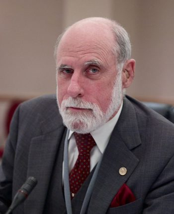Vinton Cerf at the ICANN meeting in Los Angeles, 2007. Born in 1943, he is still active on many boards and in many organizations, and is Google's Chief Internet Evangelist. Photo: Joi Ito/Flickr, CC BY 2.0
