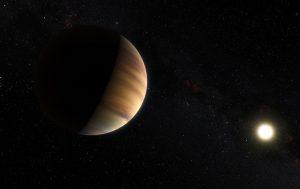 Künstlerische Darstellung von 51 Pegasi und seinem Planeten (Bild: ESO/M. Kornmesser/Nick Risinger - skysurvey.org)
