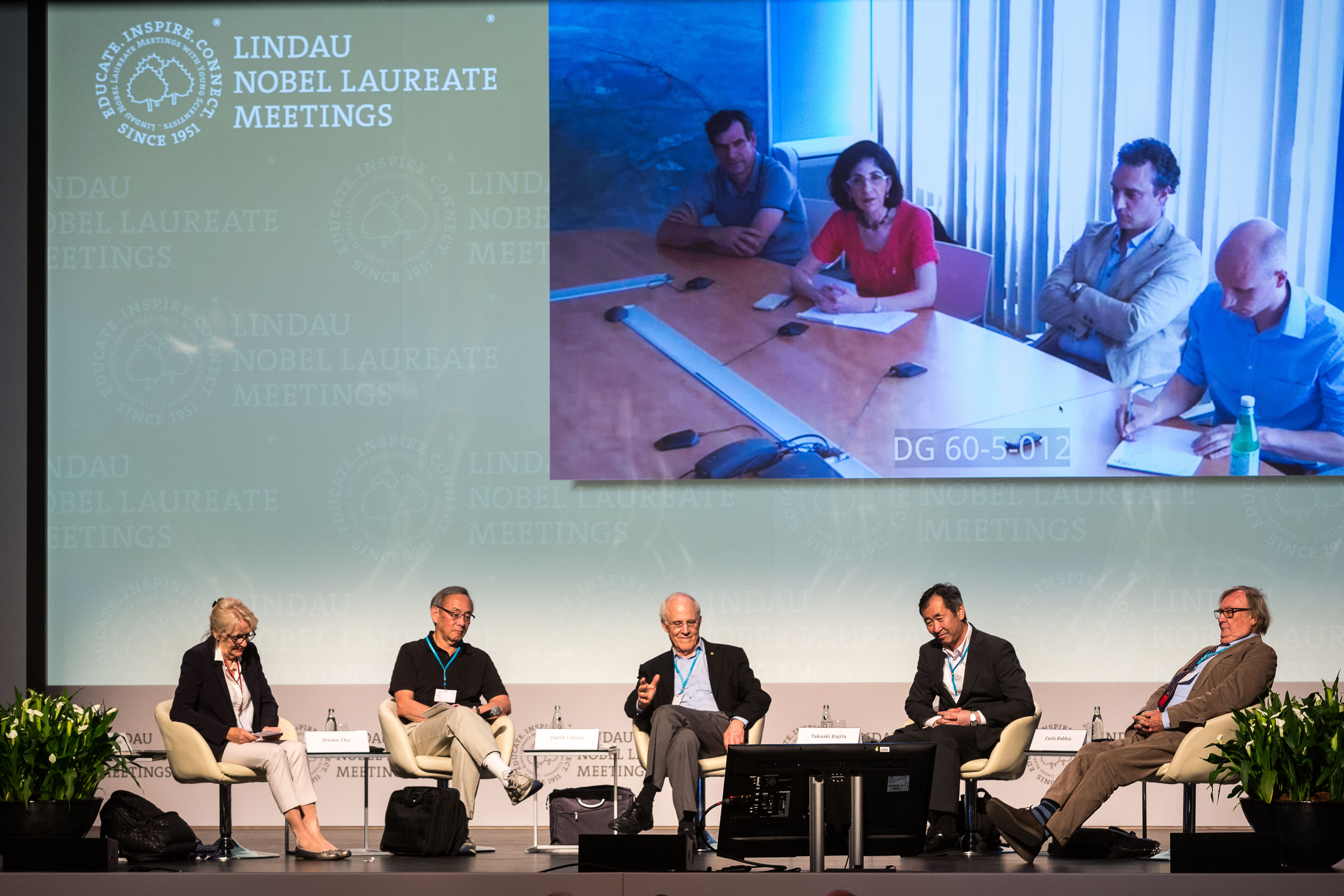 Nobel Laureates Chu, Gross, Kajita and Rubbia gathered for a panel discussion on physics yeond the Standard Model. Photo: Ch. Flemming/Lindau Nobel Laureate Meeting