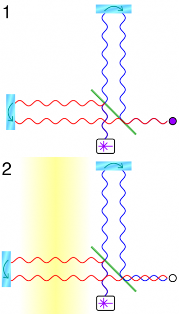Simplified LIGP principle: Figure 1: A beamsplitter (green line) splits coherent light (from the white box) into two beams which reflect off the mirrors (cyan oblongs); only one outgoing and reflected beam in each arm is shown, and separated for clarity. The reflected beams recombine and an interference pattern is detected (purple circle). Figure 2: A gravitational wave (yellow) passing over the left arm changes its length and thus the interference pattern. Image: Cmglee, CC BY-SA 3.0