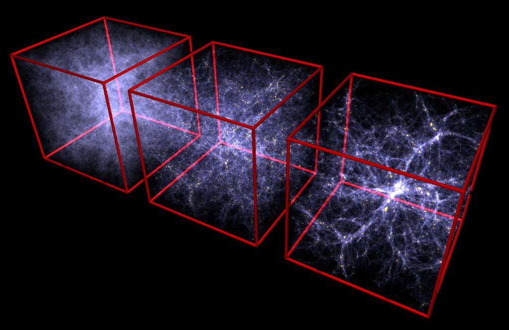 Evolution der großskaligen Strukturen im Universum von frühen Zeiten (links) zum heutigen Zustand (rechts). Der Ausschnitt entspricht einer Längenskala von etwa dem 5000-fachen Durchmesser der Milchstraße. Deutlich zu erkennen ist die Bildung von spinnennetzartigen Strukturen. Credit: Volker Springel/Max-Planck-Institute for Astrophysics