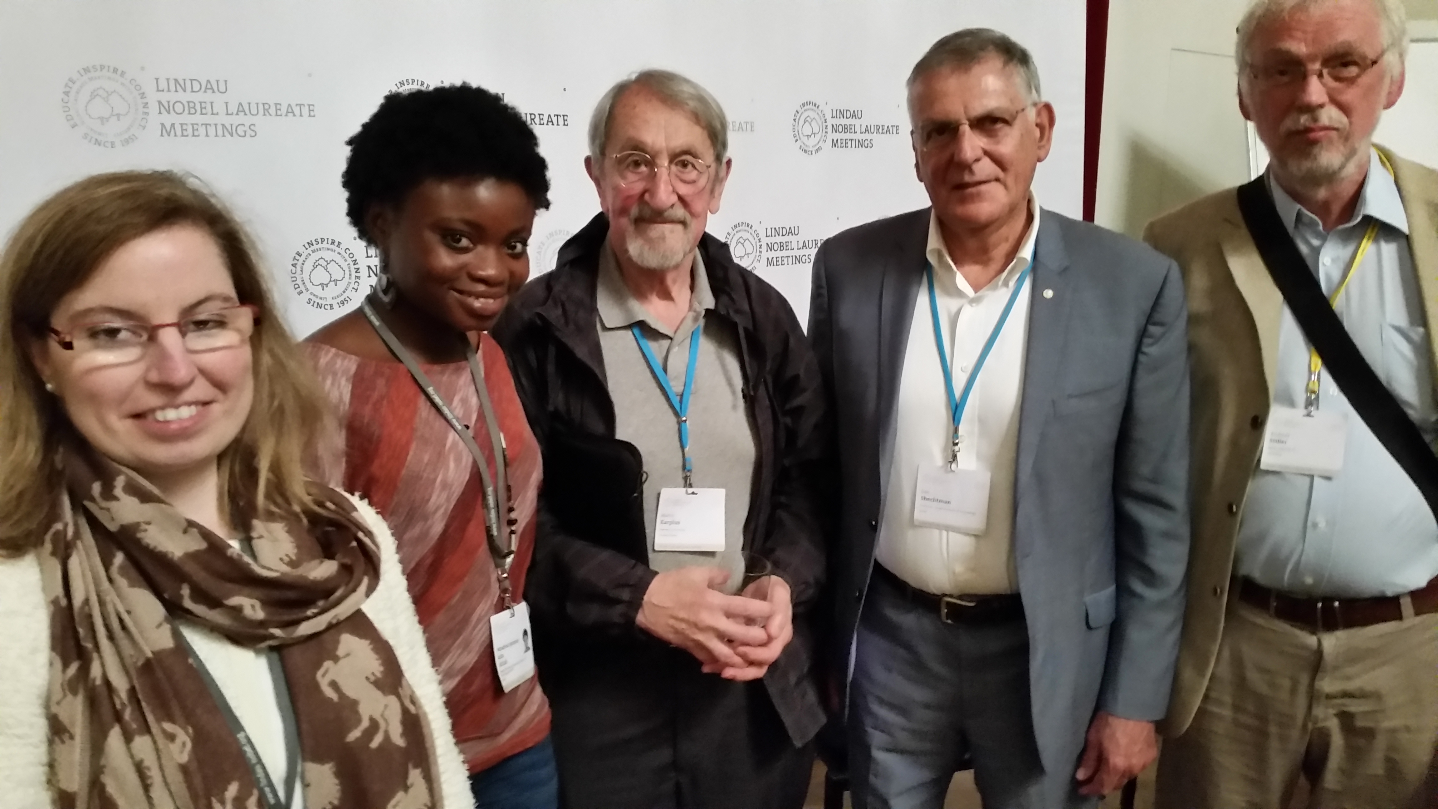 Winifred (second from left) with Nobel Laureates