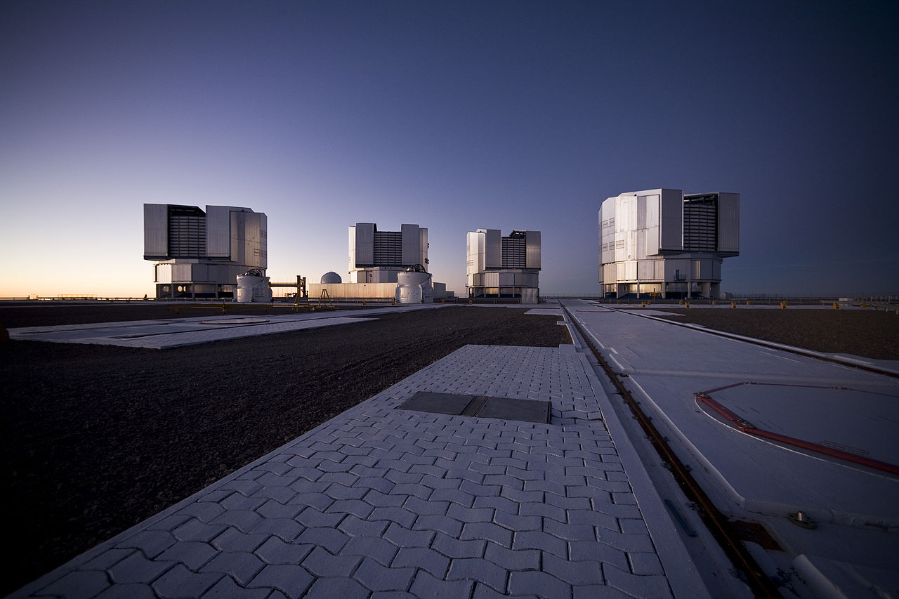The four main units which make up the VLT, on Cerro Paranal in Chile (credit: ESO/H.H. Heyer (CC BY 4.0))