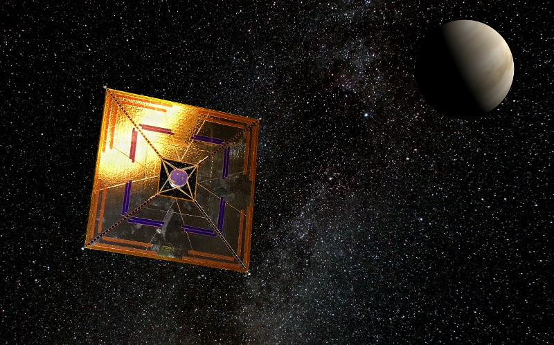 Artist's impression of the Japanese space probe IKAROS near Venus. In 2010, it completed all its tasks successfully: automatic unfolding of large solar sail; power generation by thin-film solar cells on sail; verification of acceleration by solar light pressure; and navigation by solar sail. Image: Andrzej Mirecki CC BY-SA 3.0