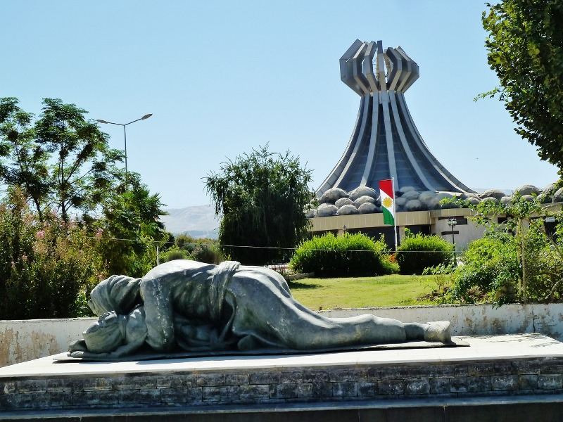 Halabja Memorial commemorating the thousands dead and wounded after one of the deadliest attack with chemical weapons on the Kurdish population of Halabja by the Iraqi army in 1988. Photo: Kurdish Daily News