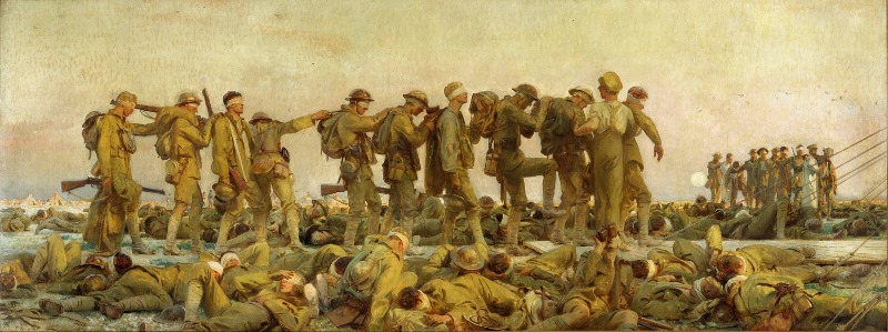 Painting with the title 'Gassed' by John Singer Sargent, depicting the suffering of chemical weapons survivors in World War I. Location of the painting: Imperial War Museum London, Source: Google Cultural Institute, License: public domain