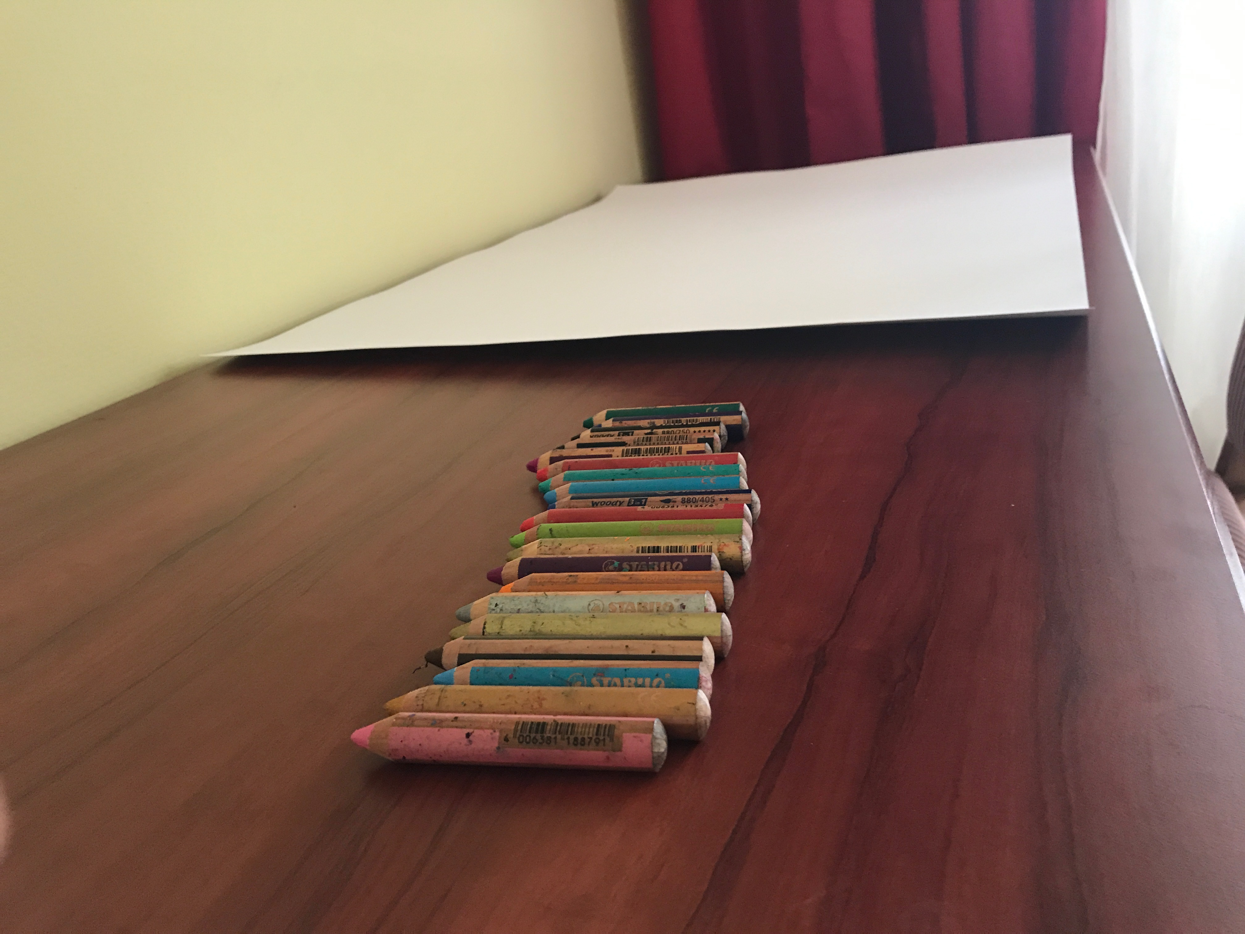Crayons and paper waiting for a science sketch. Credit: Melissae Fellet