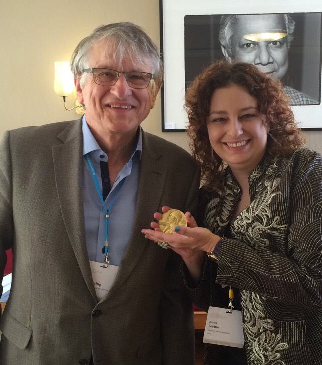 Alaina G. Levine with Nobel Laureate Klaus von Klitzing at #LiNo17. Photo/Credit: Courtesy Alaina G. Levine