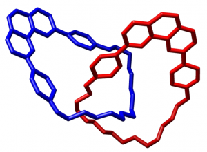 A molecule with interlocking rings syntheised by Jean-Pierre Sauvage and Christiane Dietrich-Buchecker in 1983. Credit: Wikimedia Commons