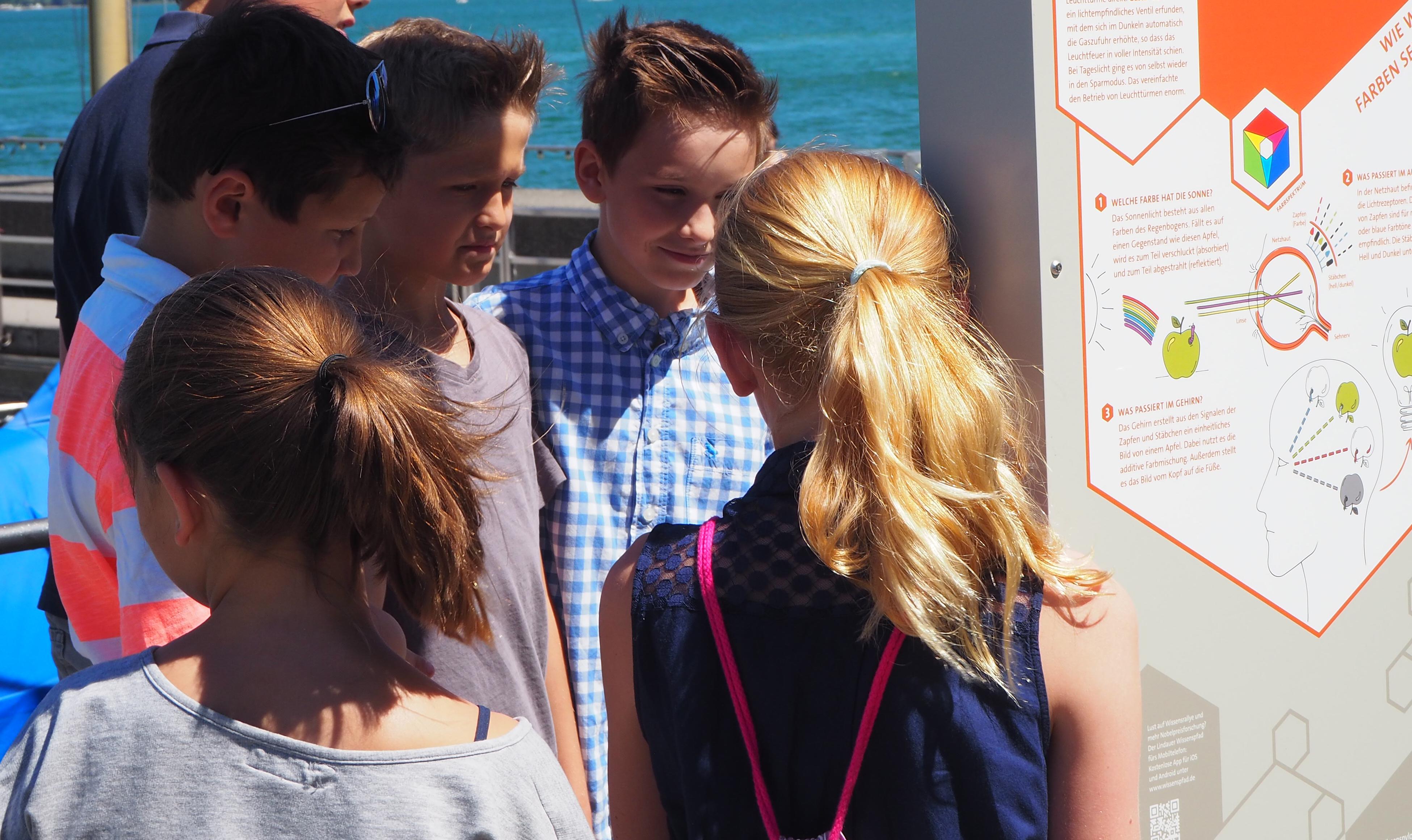 Pupils exploring a knowledge pylon. Picture/Credit: Lindau Nobel Laureate Meetings