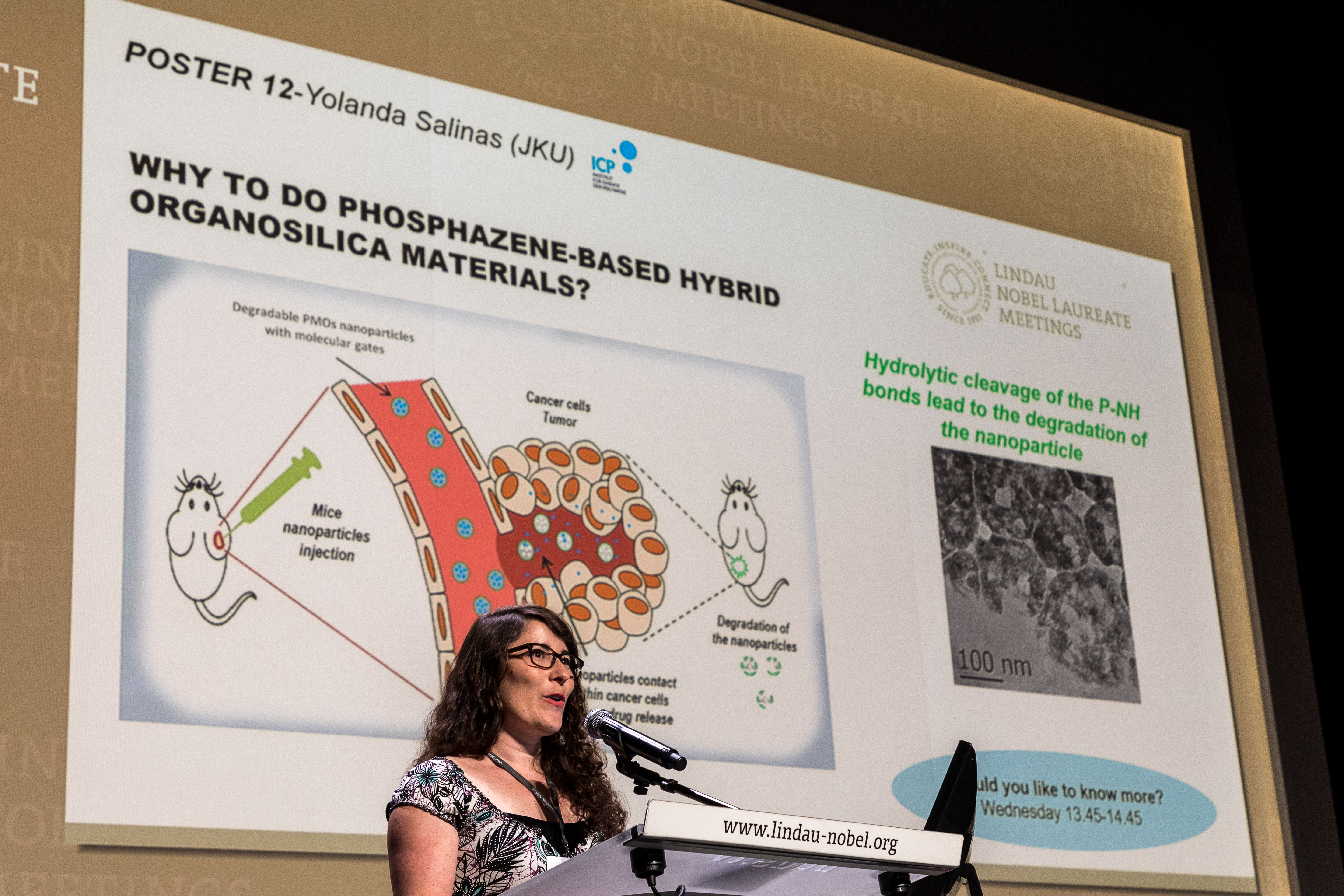 Yolanda Salinas presenting her research at the Poster Flashes, 67th Lindau Nobel Laureate Meeting (Chemistry), 25.06.2017 - 30.06.2017, Lindau, Germany, Picture/Credit: Christian Flemming/Lindau Nobel Laureate Meetings