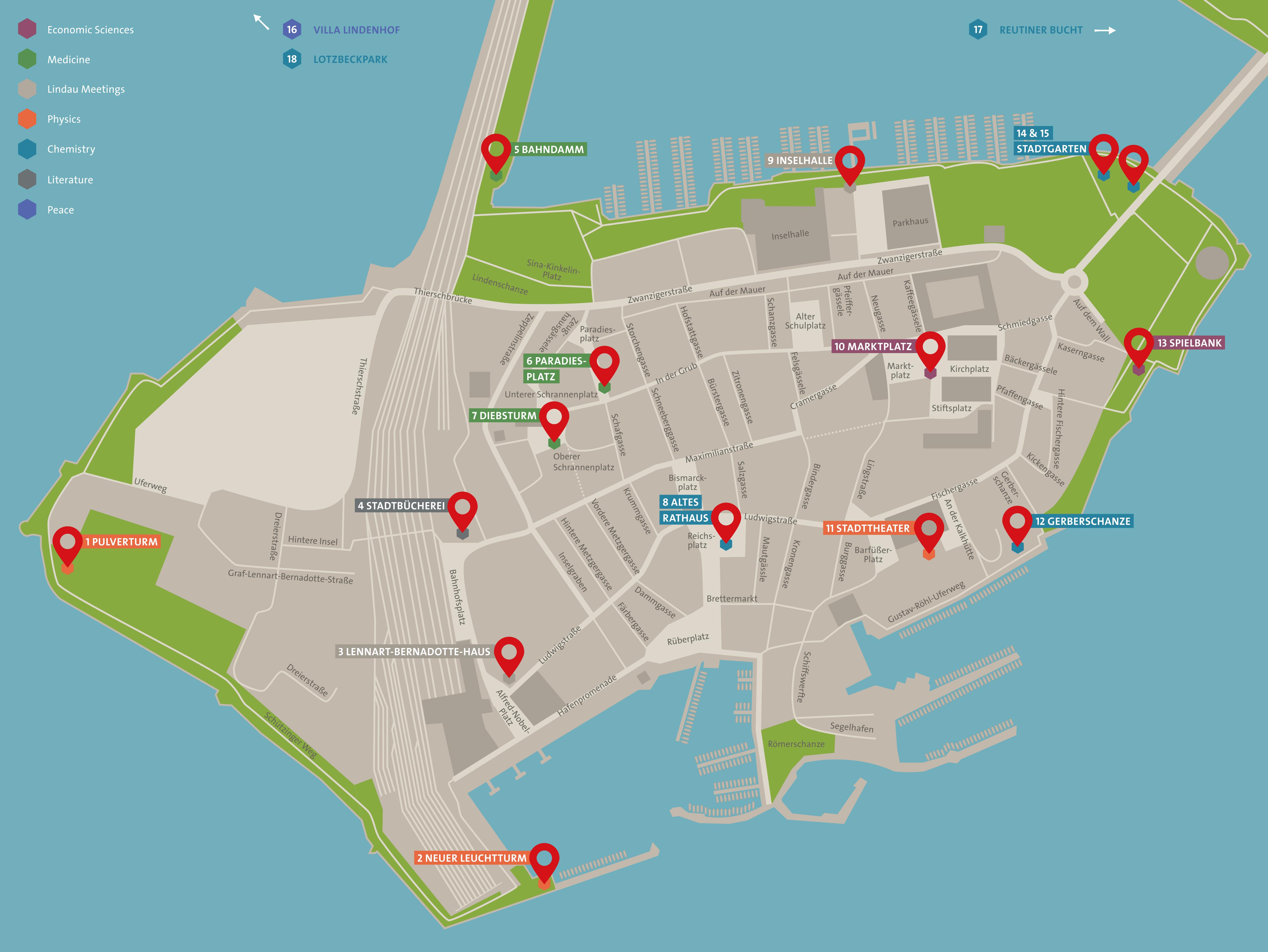 Die Karte zeigt die verschiedenen Standorte der Wissenspylone, die ab sofort in Lindau entdeckt werden können. Picture/Credit: Archimedes Exhibitions GmbH