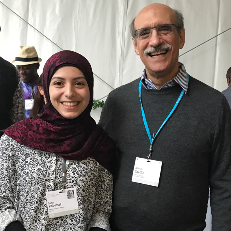 Jana with Nobel Laureate Martin Chalfie. Photo: Courtesy of Jana Kobeissi