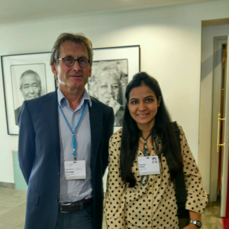 Monika with Nobel Laureate Ben  Feringa at the 67th Lindau Meeting. Photo: Courtesy of Monika Patel