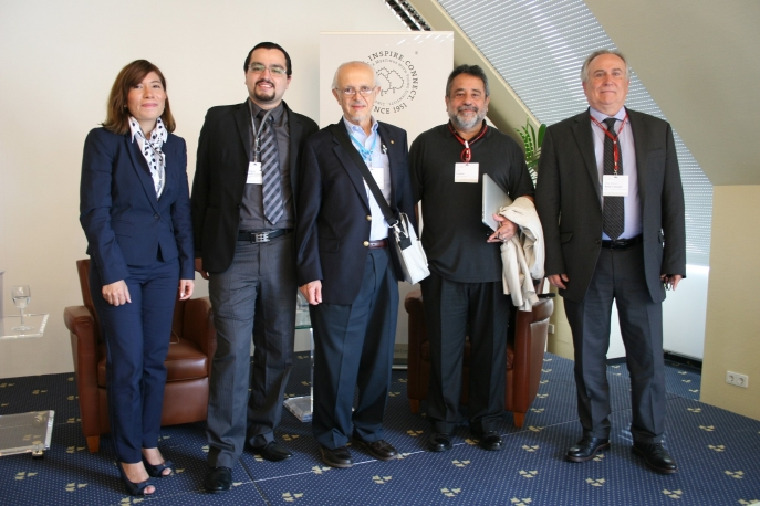 Lindau Alumni 2017 Ana Torres and Octavio Saucedo, Nobel Laureate Mario Molina, former President of the Mexican Academy of Sciences Jose Franco and Director of International Cooperation CONACYT, Arturo Borja (from left to right) after a discussion on Public Policy at the 67th Lindau Meeting, Photo: Courtesy of Ana Torres