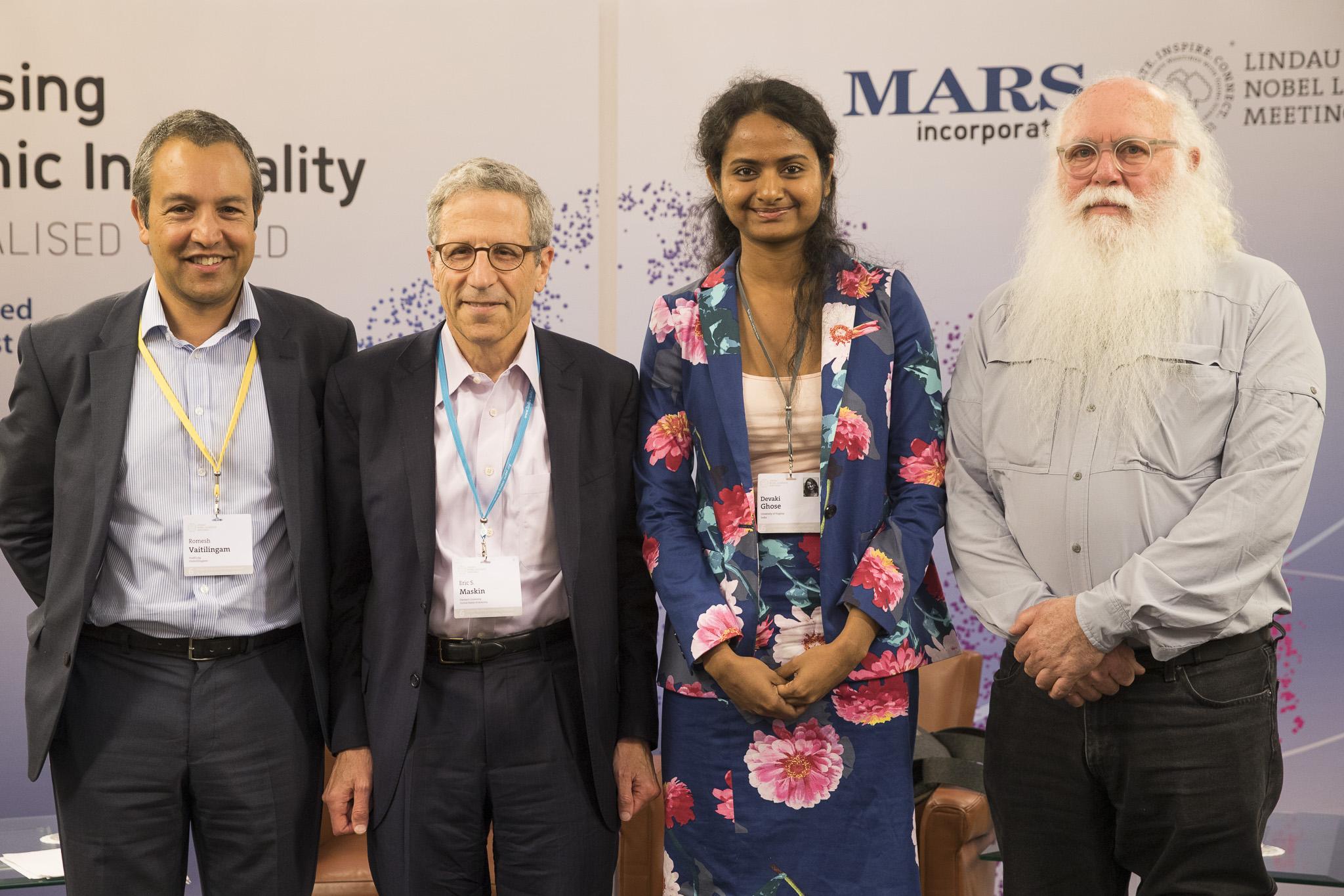 I was discussing economic inequality at the 6th Lindau Meeting on Economic Sciences with economists Romesh Vaitilingam, Eric Maskin (Nobel Laureate) and Devaki Ghose.