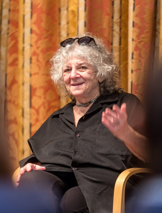 Nobel laureate Ada Yonath during a discussion with young scientists at the 2016 Lindau Nobel Laureate Meeting. Photo: LNLMM/Christian Flemming