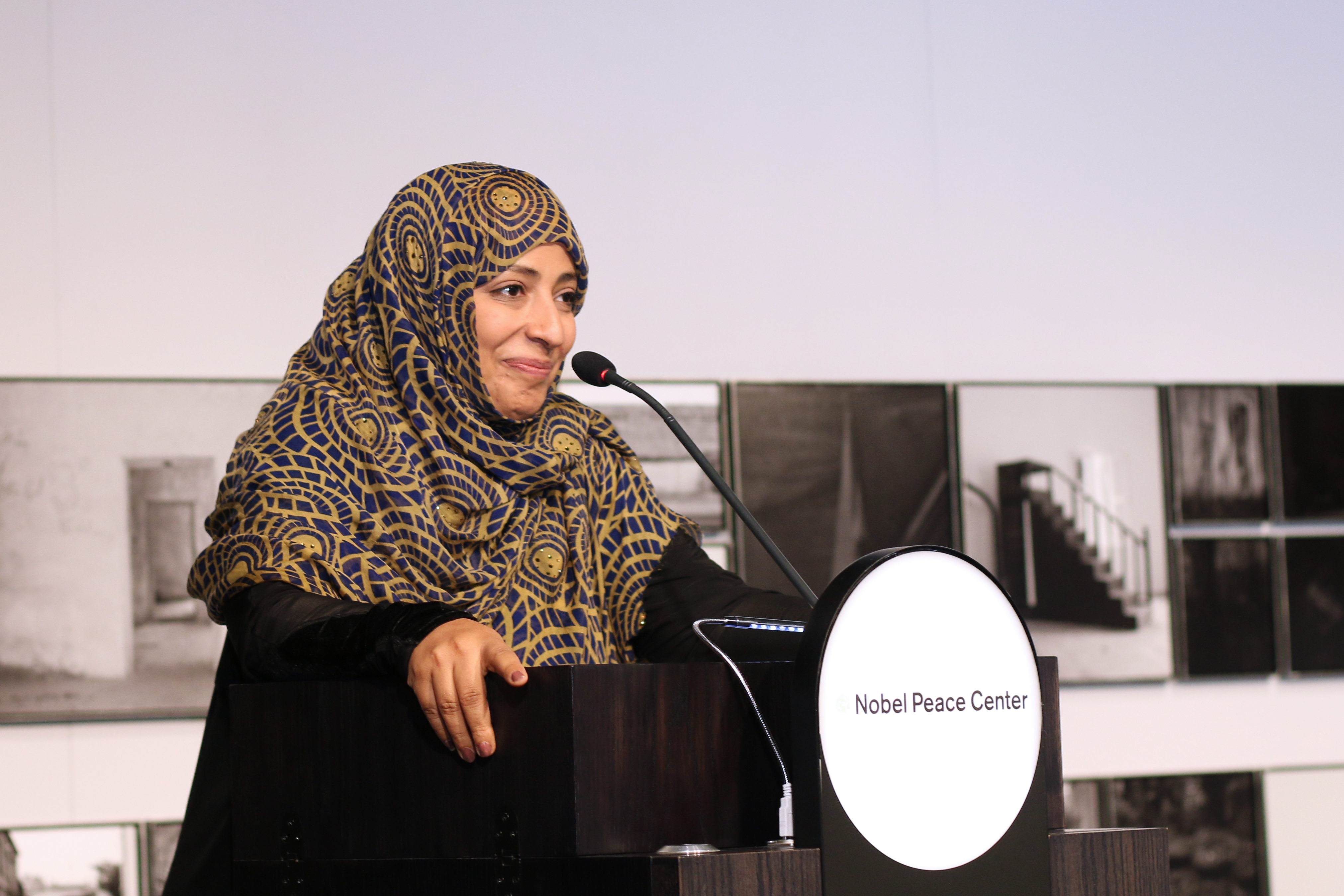 Tawakkol Karman, Nobel Peace Laureate 2011, at the presentation of Peter Badge's 'Nobel Heroes' at the Nobel Peace Center in Oslo