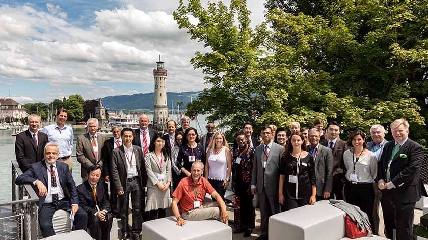 Academic Partners group photo in Lindau harbour